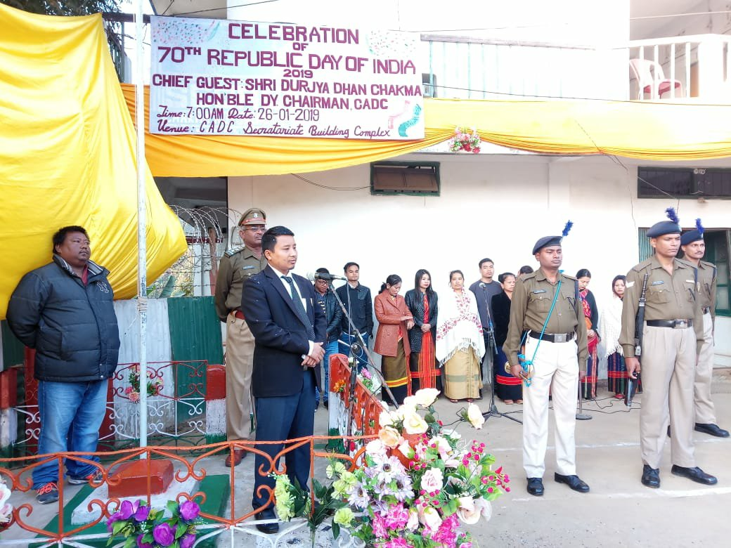 Dangu Durjya Dhan Chakma, Dy Chairman unfurling the national flag