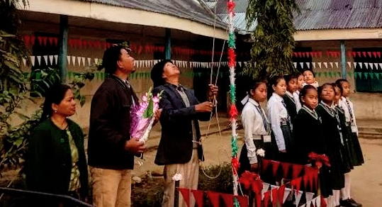 Flag hoisting at Kamalanagar Public School, CADC, Mizoram on the occassion of the 71st Republic Day
